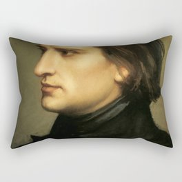 Franz Liszt (1811-1886) at 29. Painting by Charles Laurent Marechal (1801-1887). Rectangular Pillow