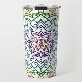 Floral Mandala A - Rainbow Line Travel Mug