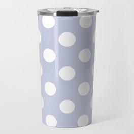 Light periwinkle - grey - White Polka Dots - Pois Pattern Travel Mug