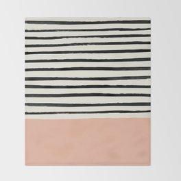 Peach x Stripes Throw Blanket