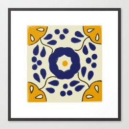 Talavera Mexican tile inspired bold design in blue and yellow Canvas Print