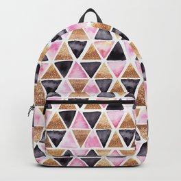 Rose Gold Pink Black Ink Geometry Backpack
