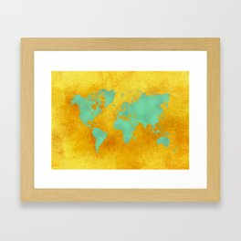 world map gold green #worldmap #map Framed Art Print