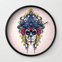 dia de los muertos Wall Clocks featuring Dia de los Muertos by merci