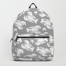 Grey Lobster Pattern Backpack