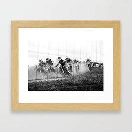 Motocross black white Framed Art Print