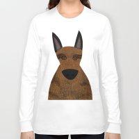 german shepherd Long Sleeve T-shirts featuring Dog - German Shepherd 2 by Verene Krydsby