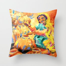 India - Lady With Her Pots (Colour Me India) Throw Pillow