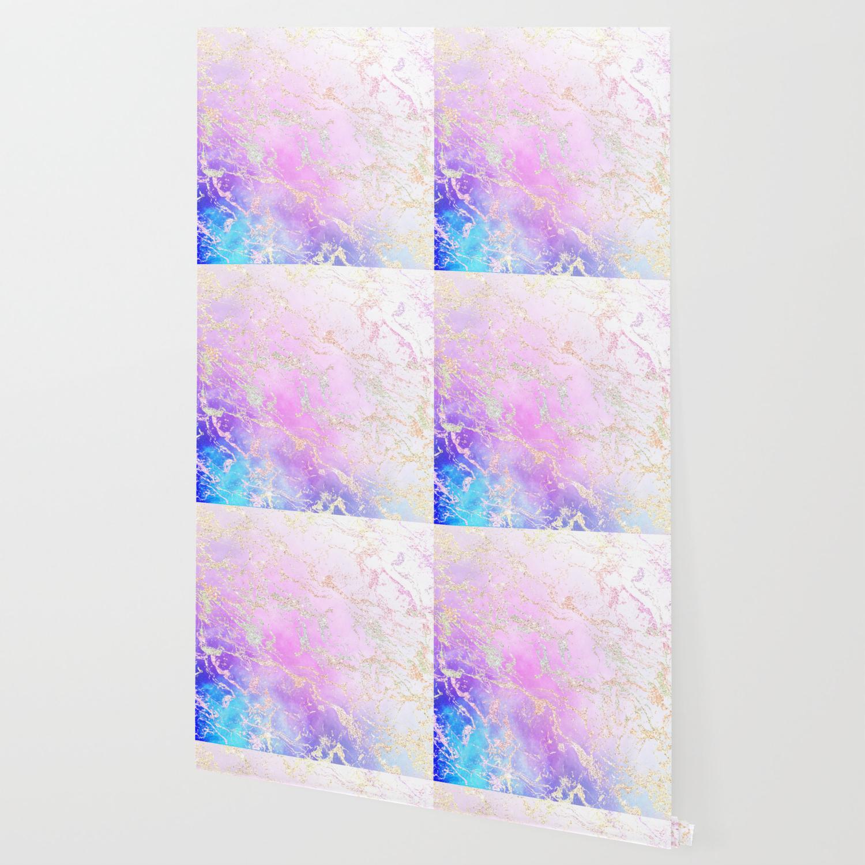 Modern Rainbow Glitter Marble On Nebula Watercolor Ombre Wallpaper