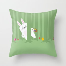 Easter Bunnyville Throw Pillow