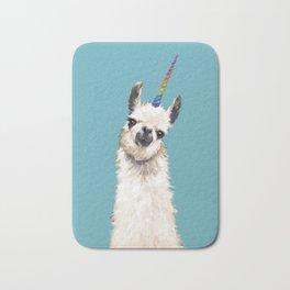 Unicorn Llama Blue Bath Mat