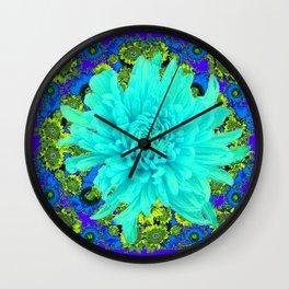AQUA Spider Mum FLOWER GARDEN  PURPLE-LIME FLOWER GARDEN Wall Clock