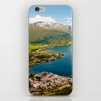 norway iPhone & iPod Skins featuring Sandane, Norway by MankiniPhotography