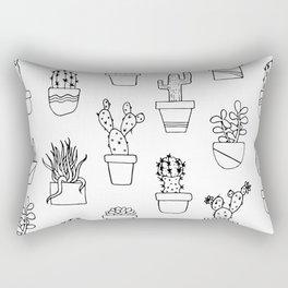 Cactus Line Art Pattern Rectangular Pillow