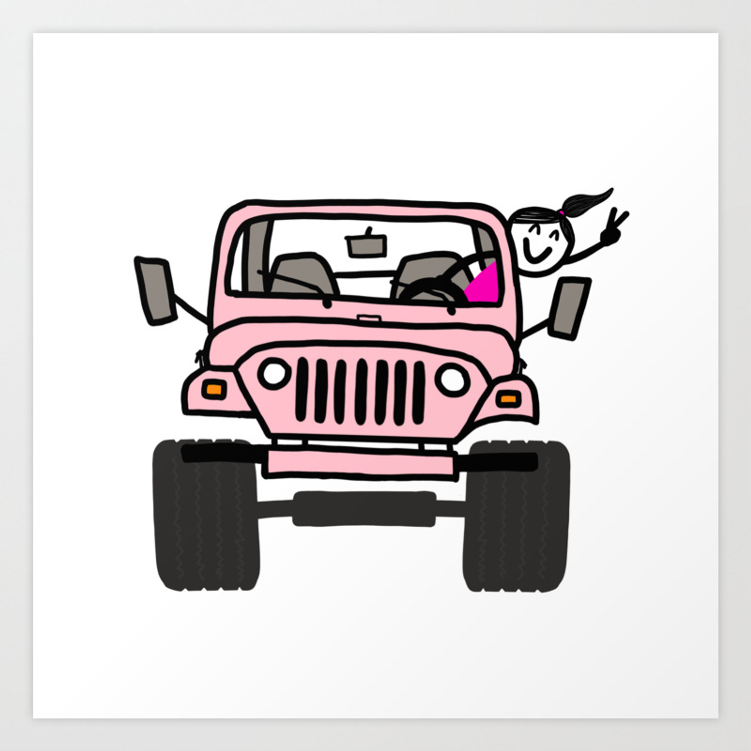 Jeep Wave Pink Girl Art Print By Indicap Society6