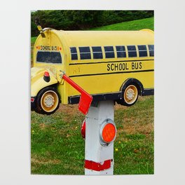 School Bus Mailbox Poster