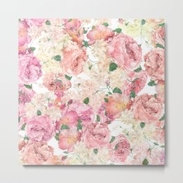 Flowers, Floral Explosion, Floral Pattern, Pink Flowers Metal Print