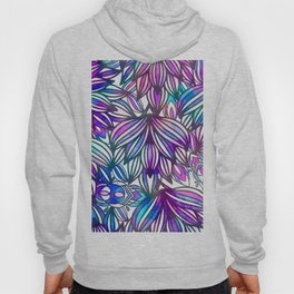 Hand painted neon pink teal blue watercolor floral Hoody