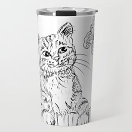 Kitty and butterfly Travel Mug