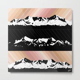 Skintones, Black and White Snowy Mountains Metal Print