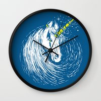 unicorns Wall Clocks featuring Scar Unicorns by Steven Toang
