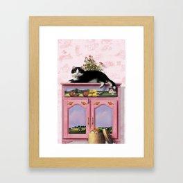 """Mosky Cat """"Flowers"""" Framed Art Print"""