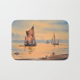 Barges On The River Thames Greenwich London Bath Mat