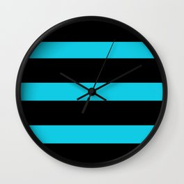 Hollywood Nights Black and Teal Stripes Wall Clock