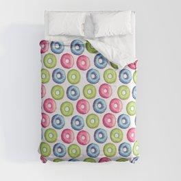 Modern neon pink green trendy sweet donuts pattern Comforters