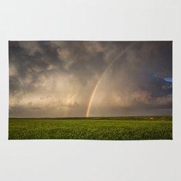 Mega Rainbow - Brilliant Rainbow Against Stormy Sky in Oklahoma Rug