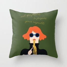 Woman Eating Spaghetti Throw Pillow