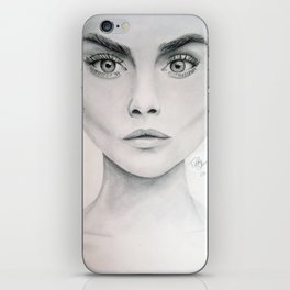 portrait of Cara Delevigne iPhone Skin