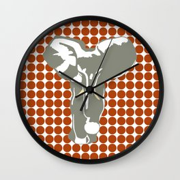Rust Red Safari Dot with Pop Art Elephant Wall Clock