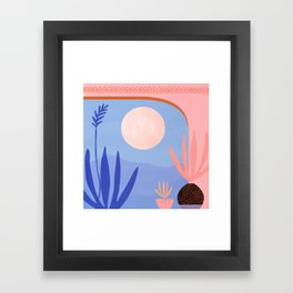 Midnight in the Desert / Blue and Pink Palette Framed Art Print