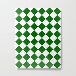 Large Diamonds - White and Dark Green Metal Print