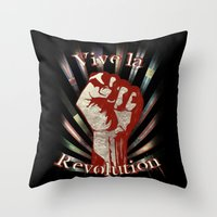 revolution Throw Pillows featuring Revolution by PsychoBudgie