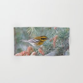 A Townsend's Warbler Spruces Up Hand & Bath Towel