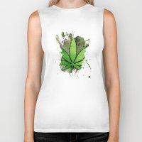 weed Biker Tanks featuring Weed Leaf by Spooky Dooky