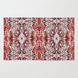 Beautiful Red Foklore Damask Pattern Rug