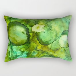 Abstract Green Blobs Rectangular Pillow