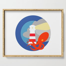 Lighthouse attacked by giant squid Serving Tray