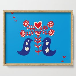 Love birds blue Serving Tray