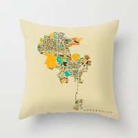 los angeles Throw Pillows featuring Los Angeles by Nicksman