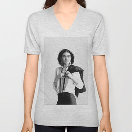 Frida Kahlo Wearing White Shirt Unisex V-Neck