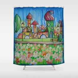 Landscape Painting Fairy town Acrylic S16 Contemporary Nursery Cityscape art for baby children kids Shower Curtain
