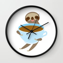 sloth & coffee 3 Wall Clock