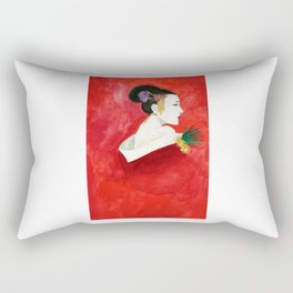 Red Wall Geisha Rectangular Pillow