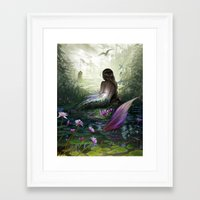 the little mermaid Framed Art Prints featuring Little mermaid by milyKnight