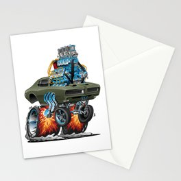 Classic American Muscle Car Hot Rod Cartoon Vector Illustration Stationery Cards