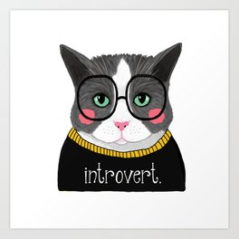 whistleburg - Introvert Cat Art Print